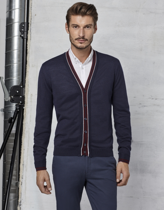 Navy blue cardigan with maroon and ivory contrasts