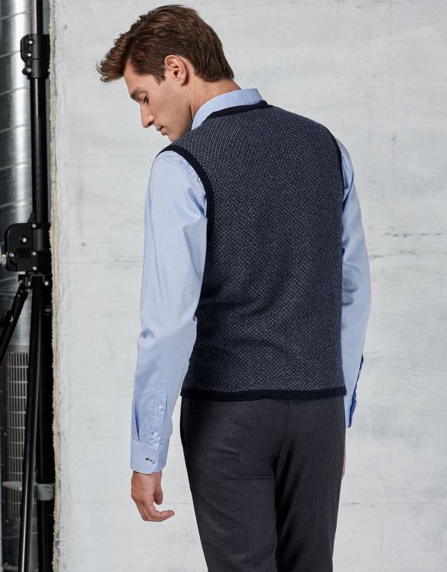 Navy blue vest with blue micro-diamonds