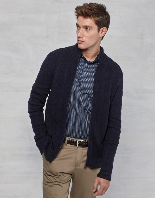 Navy blue jacket with zipper