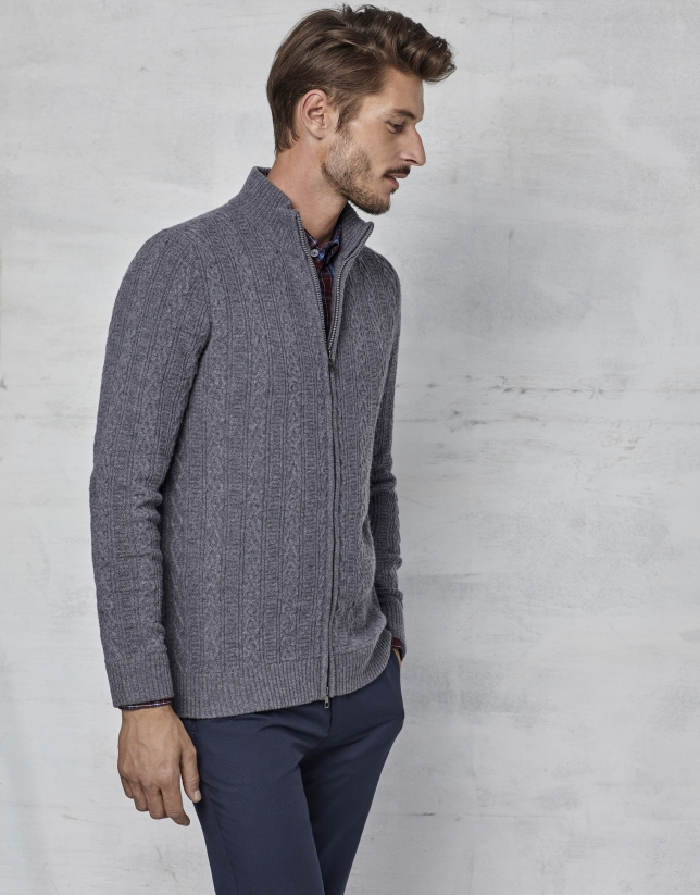 Gray jacket with zipper