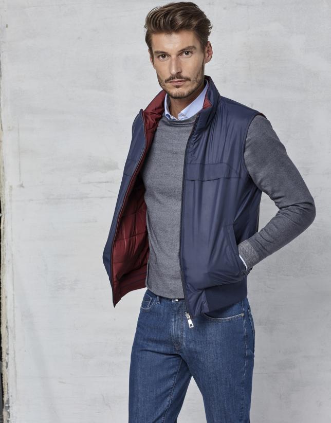 Maroon / navy blue reversible vest
