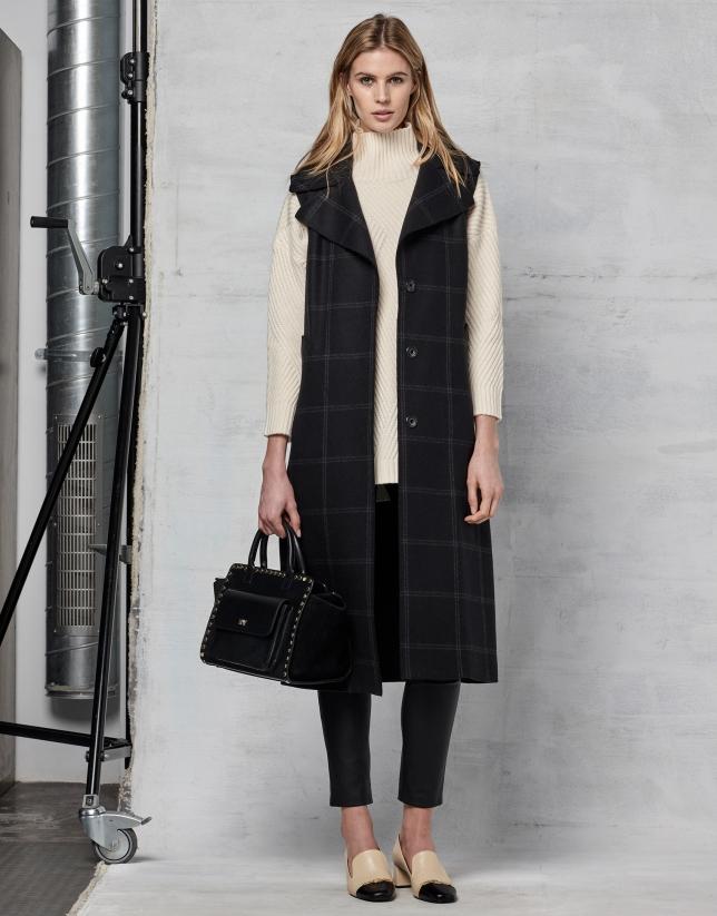 Chaleco largo en lana cuadros gris oscuro