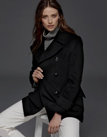 Black sailor's pea jacket
