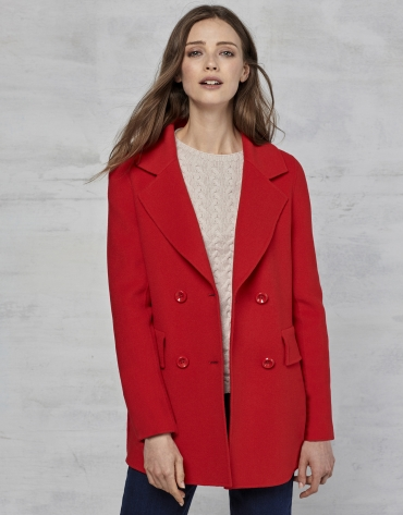 Red double-faced three-quarter jacket