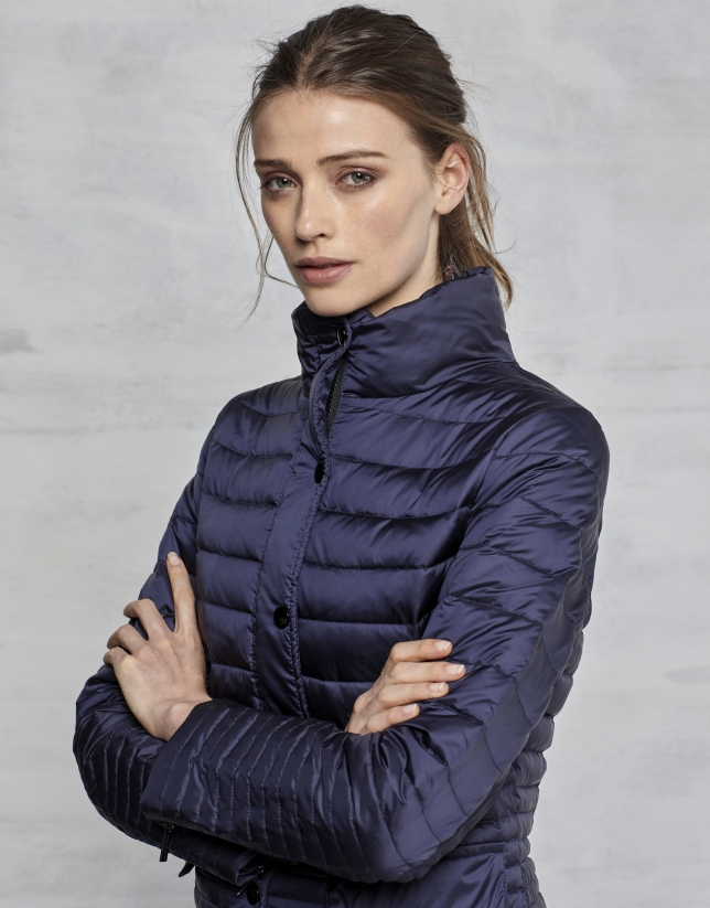 Midnight blue short ski jacket