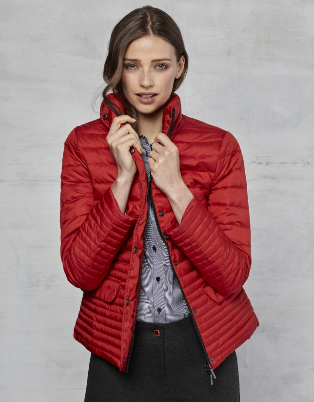 Red short ski jacket