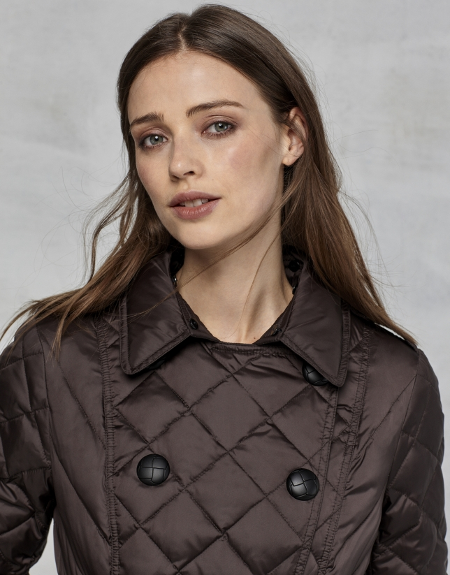 Brown quilted trench coat