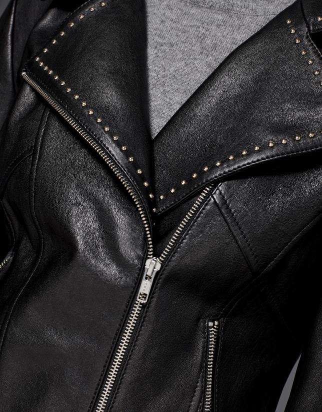 Black leather windbreaker with studs