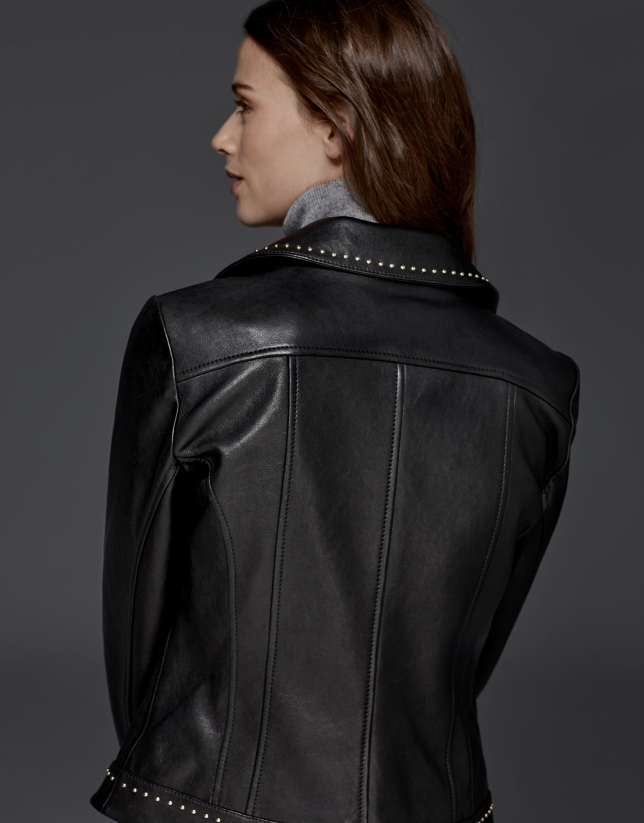 Black leather windbreaker with studs