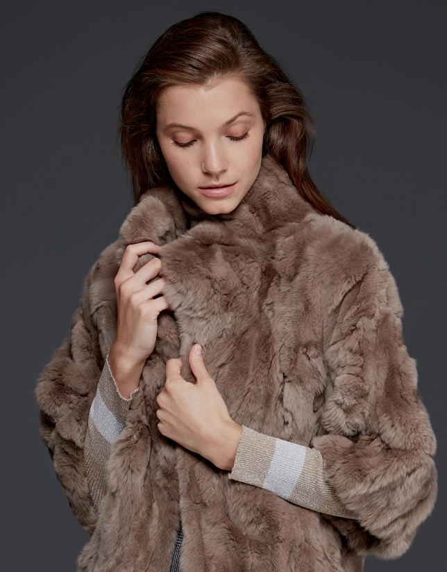 Beige rabbit fur jacket