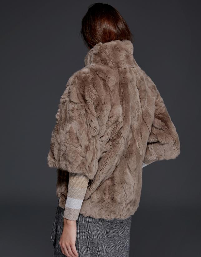 Long beige rabbit fur jacket