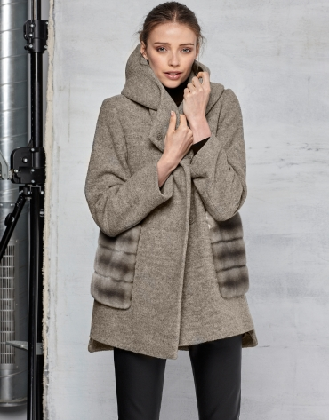 Beige virgin wool and fur coat