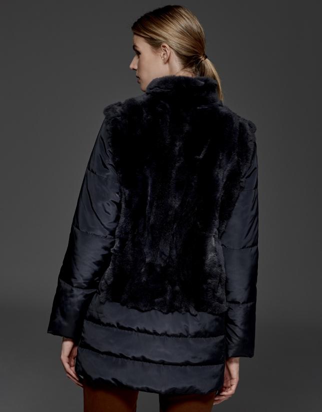 Midnight blue leather ski jacket