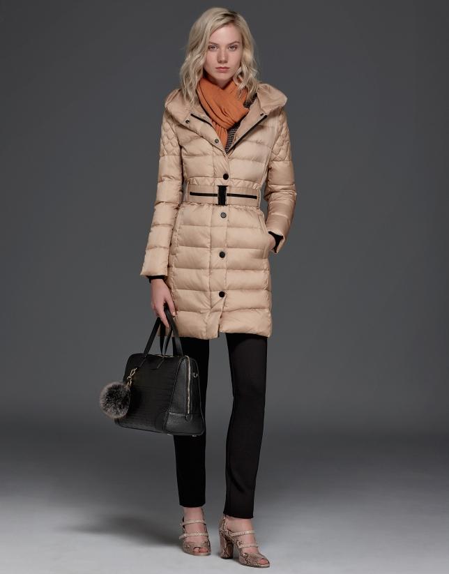Long, beige, hooded ski jacket