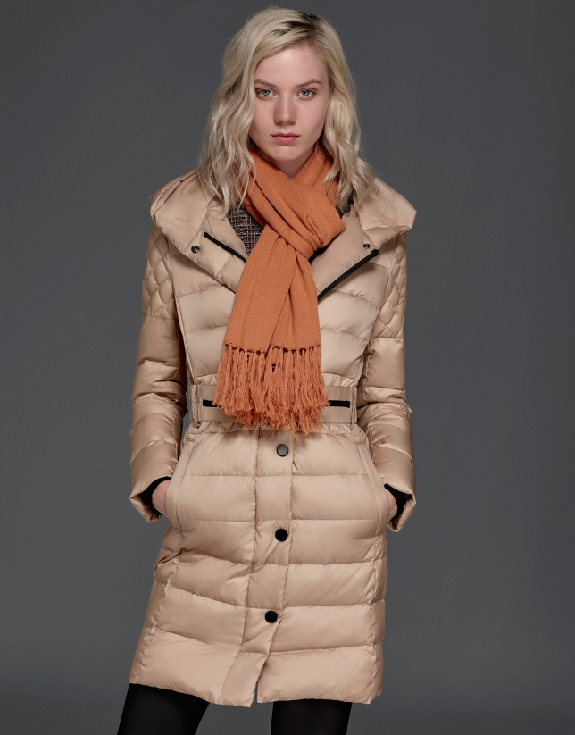 Long, beige, hooded ski jacket
