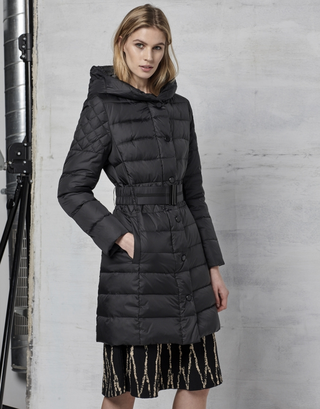 Long, black, hooded ski jacket