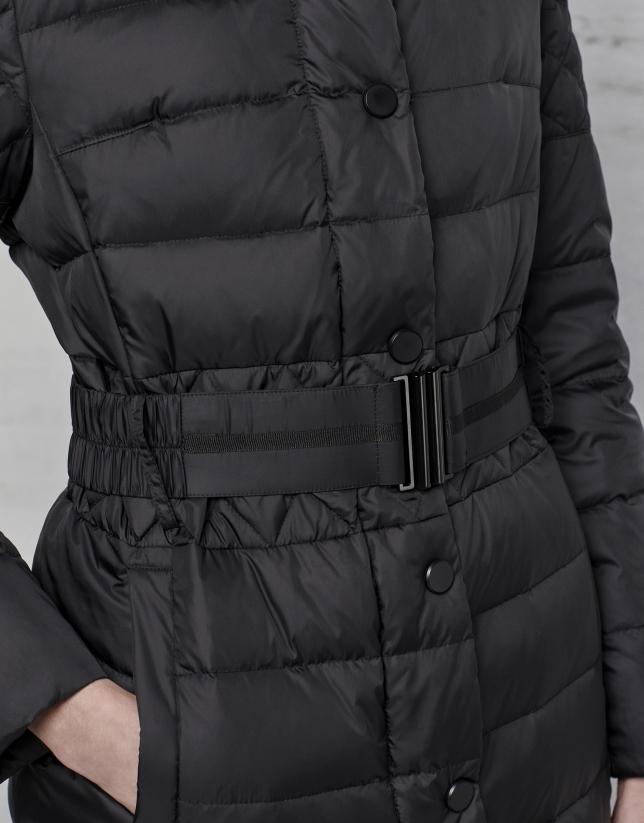 Doudoune longue noir avec capuche