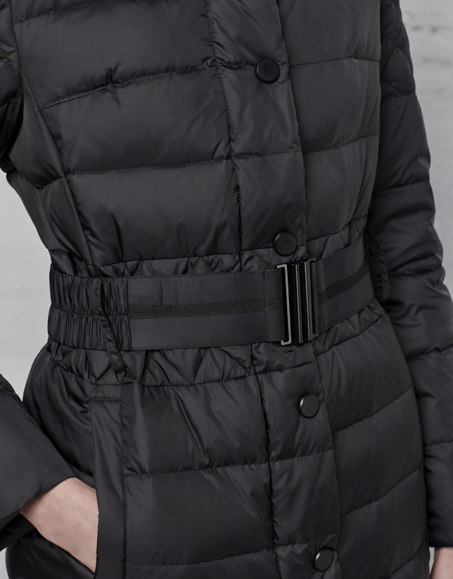 Long, black, hooded ski jacket