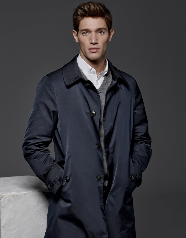 Navy blue quilted raincoat with vest
