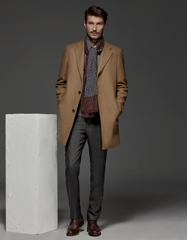 Camel cashmere and wool classic coat