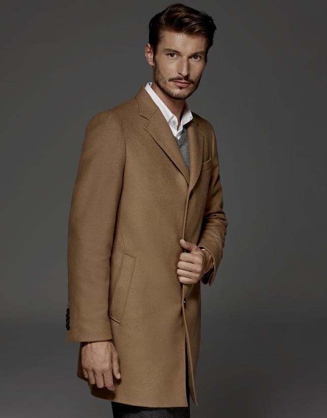 Manteau droite droit en laine et cachemire camel