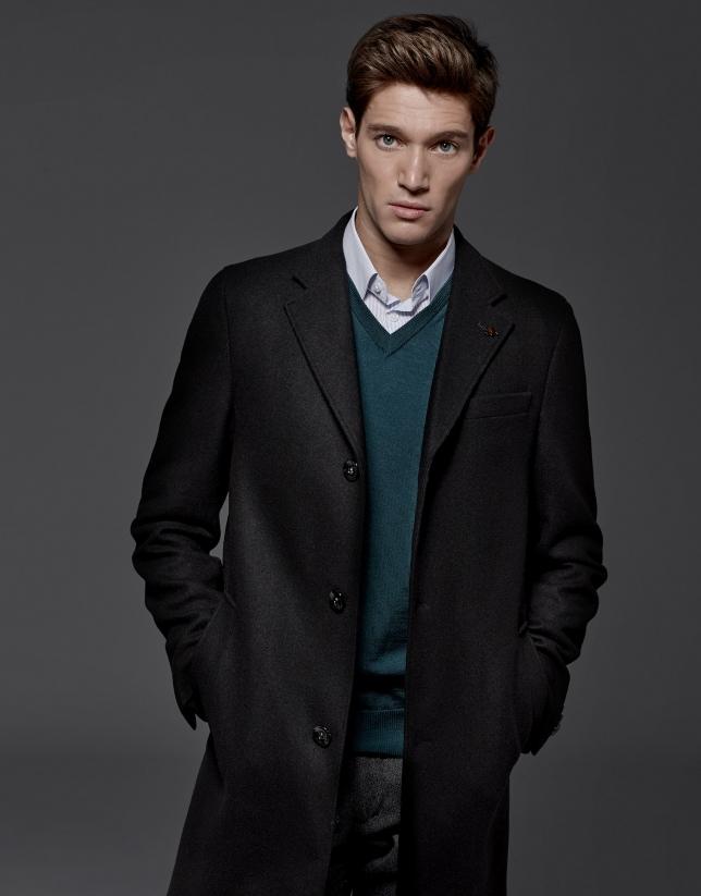 Manteau droite droit en laine et cachemire noir