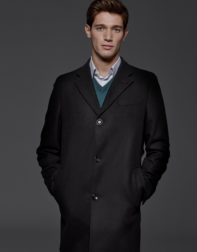 Abrigo clásico recto en lana y cashemere negro
