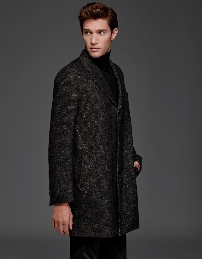 Abrigo clásico recto en lana tostado y negro
