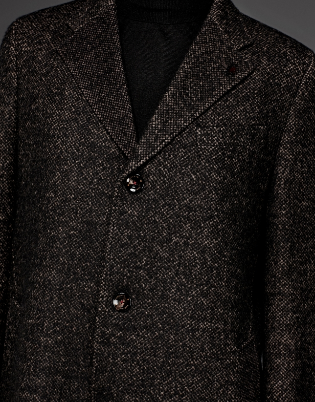 Black and tan wool coat with classic, straight cut