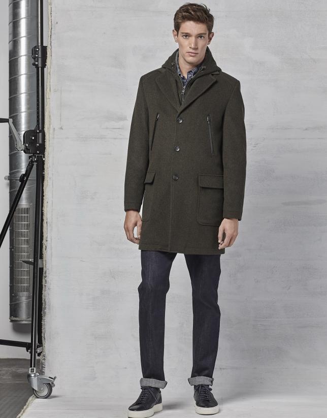 Manteau avec plastron et capuche amovible en kaki