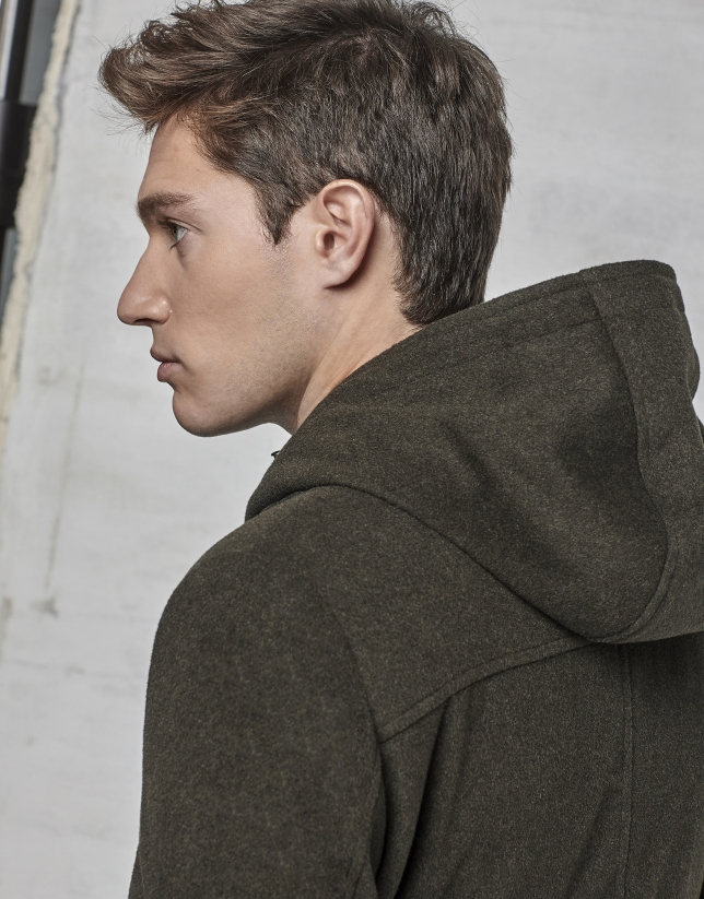 Khaki coat with yoke and removable hood