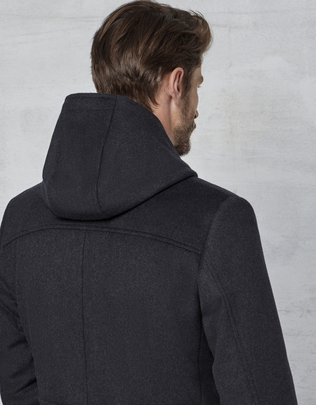 Gray coat with yoke and removable hood
