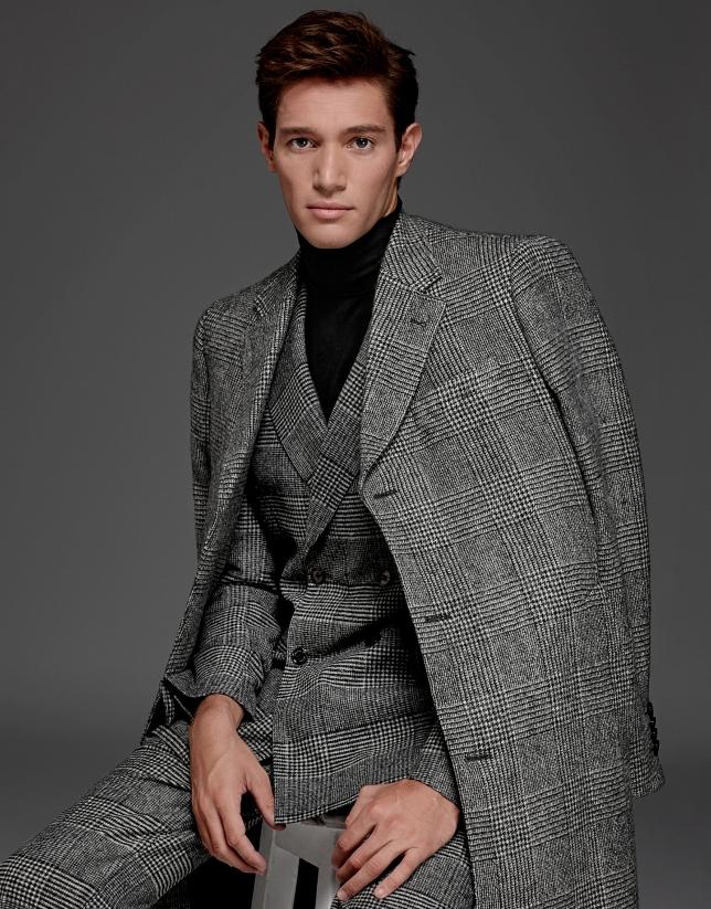 Manteau long à carreaux Prince de Galles gris
