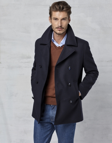 Navy blue wool three-quarter coat