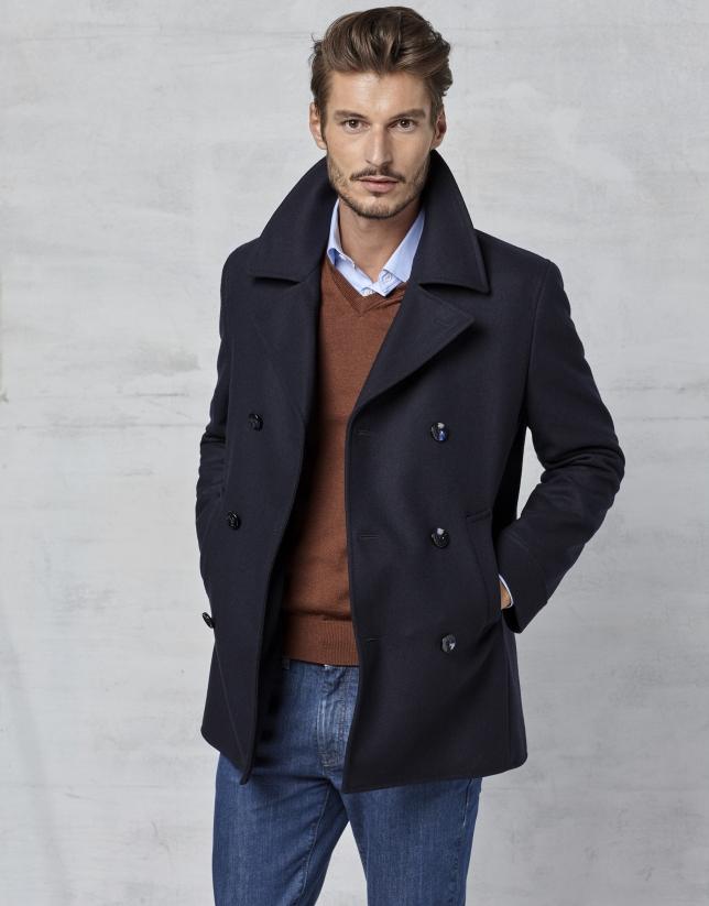 Chaquetón lana cruzado azul marino