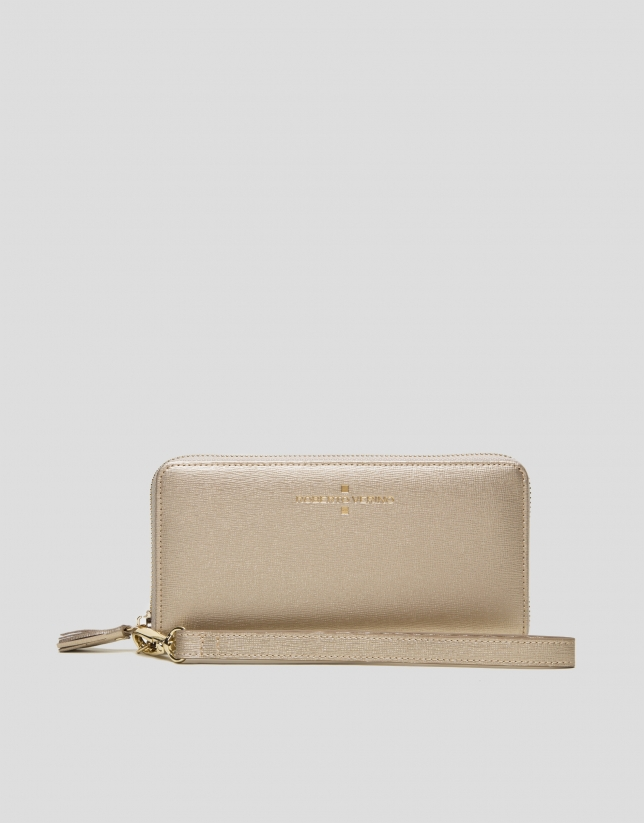 Chiaro gold Saffiano leather mega billfold