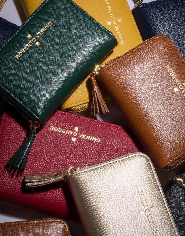 Porte-monnaie Nano en cuir Saffiano or clair