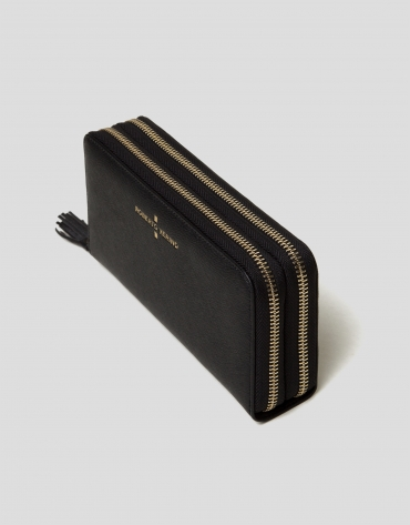 Black Saffiano leather billfold with two zippers