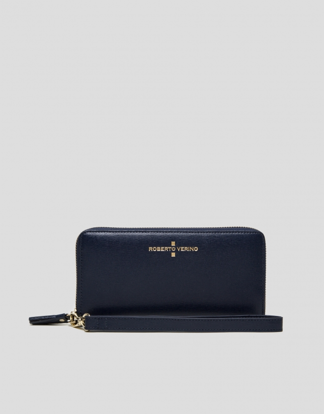 Dark blue Saffiano leather mega billfold