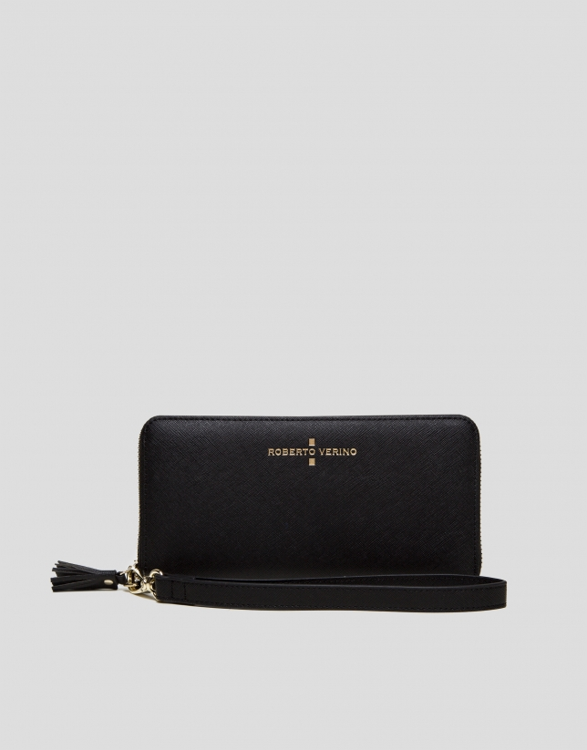 Black Saffiano leather mega billfold