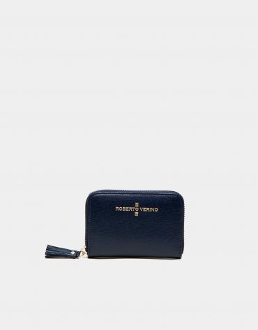 Porte-monnaie Nano en cuir Saffiano bleu foncé