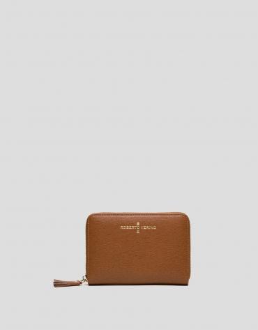 Portefeuille Mili en cuir Saffiano couleur cuir