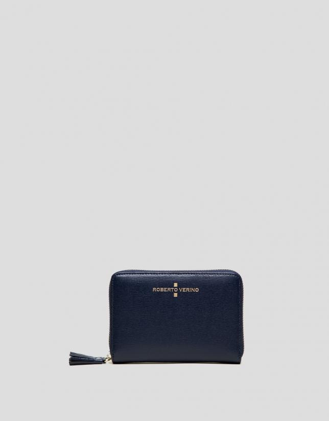 Portefeuille Mili en cuir Saffiano blue foncé