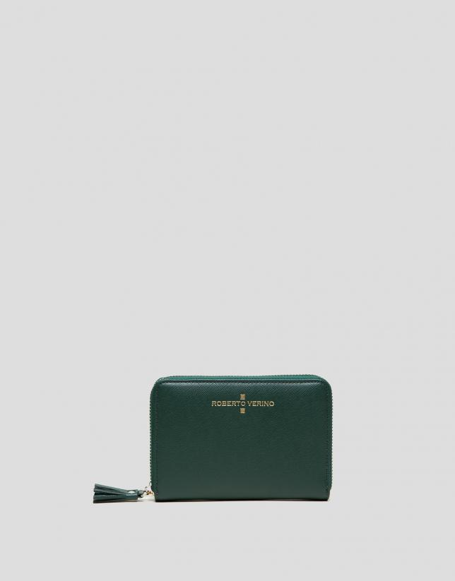Portefeuille Mili en cuir Saffiano vert