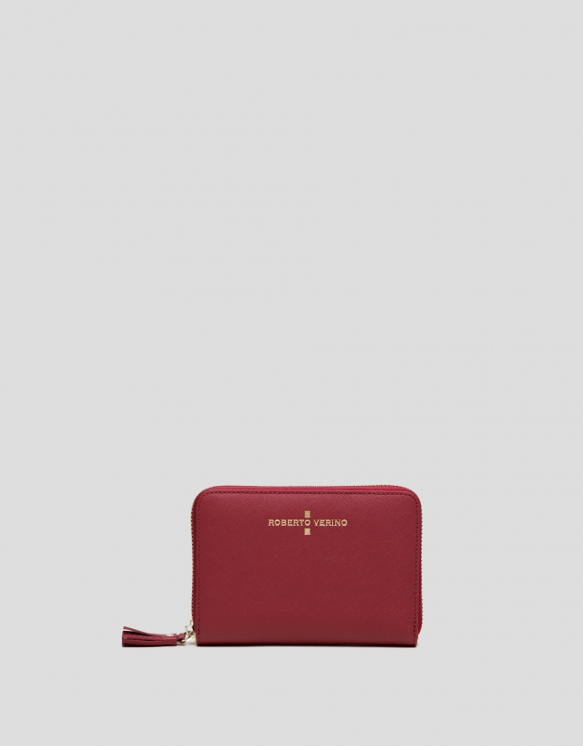 Red Saffiano leather mili billfold