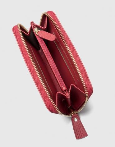 Portefeuille Mili en cuir Saffiano rouge