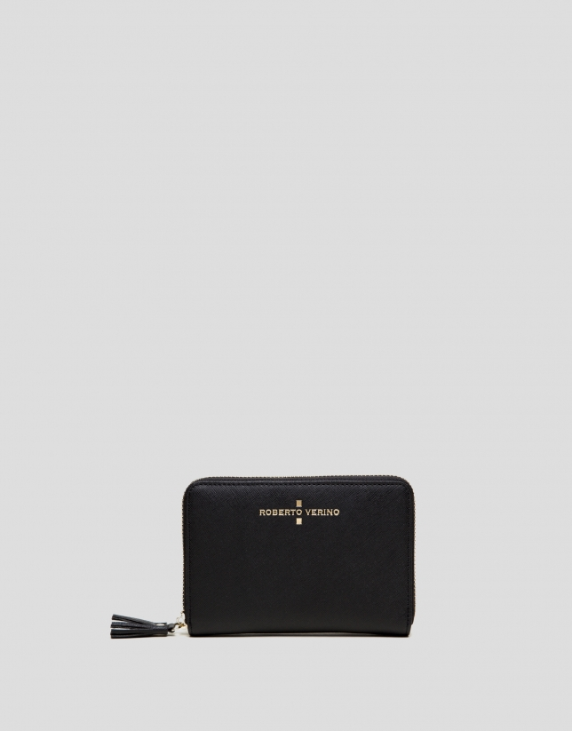 Black Saffiano leather mili billfold
