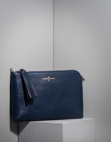 Clutch Lisa saffiano bleu foncé
