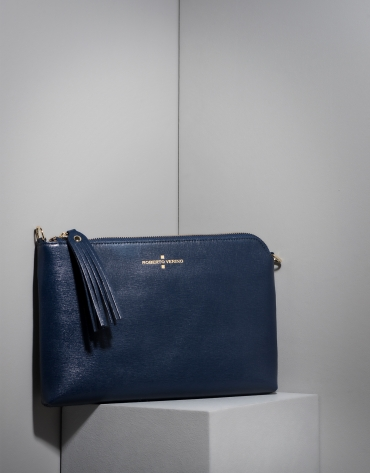 Dark blue Saffiano leather Lisa Clutch