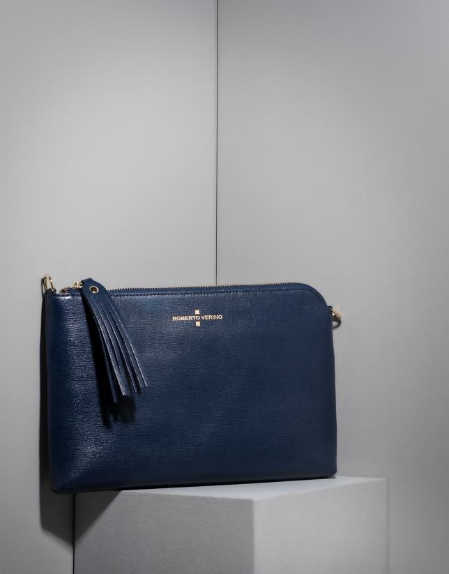 Dark blue Saffiano leather Lisa Clutch